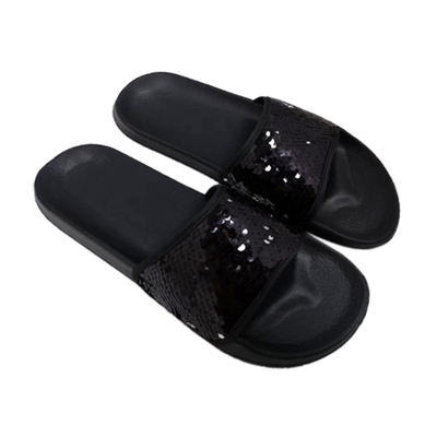 Women Slipper with Black Sequin Decoration